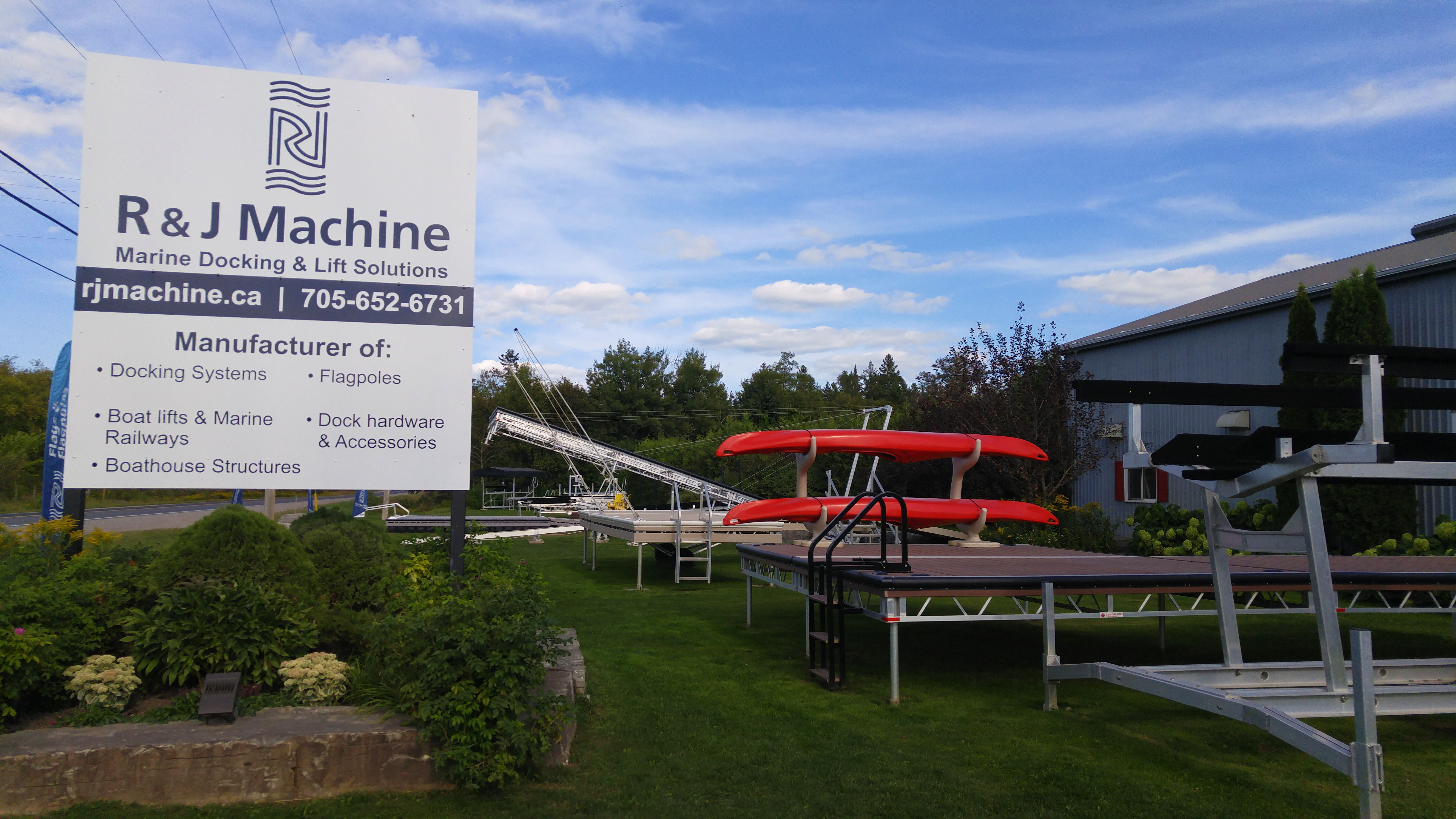 R&J Machine - Docks, Boatlifts, Railways, Boathouses Front Yard Display