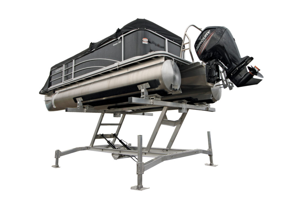 Pontoon boat lifts shallow water pontoon lifts r j for Boat lift motors 12 volt