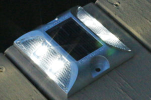 R&J Machine Dock Edge Aluminum Low Profile Solar Dock Lights at night