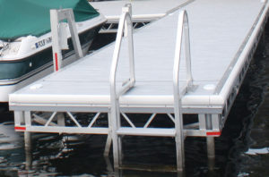 Aluminum Truss Pipe Dock with Grey VEKAdeck Pro Pvc Decking and White Premium bumper Trim
