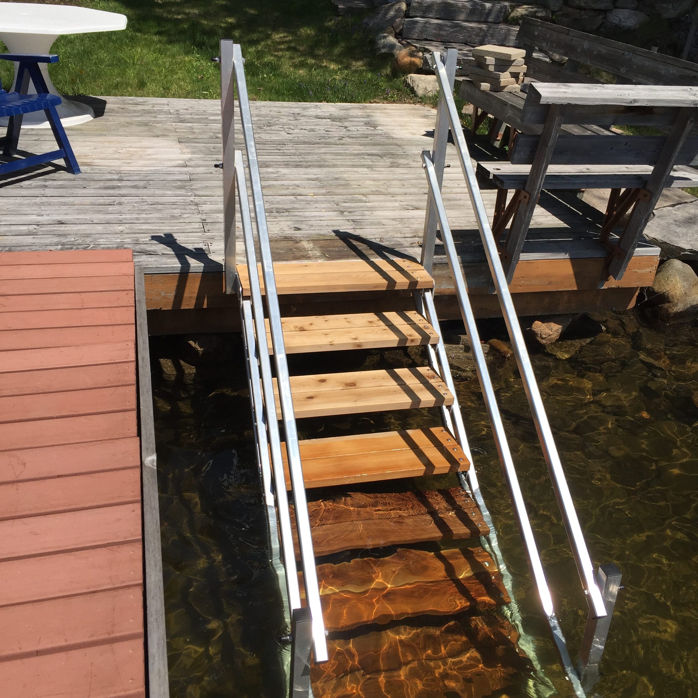 R&J Machine aluminum dock stairs / steps with Cedar treads