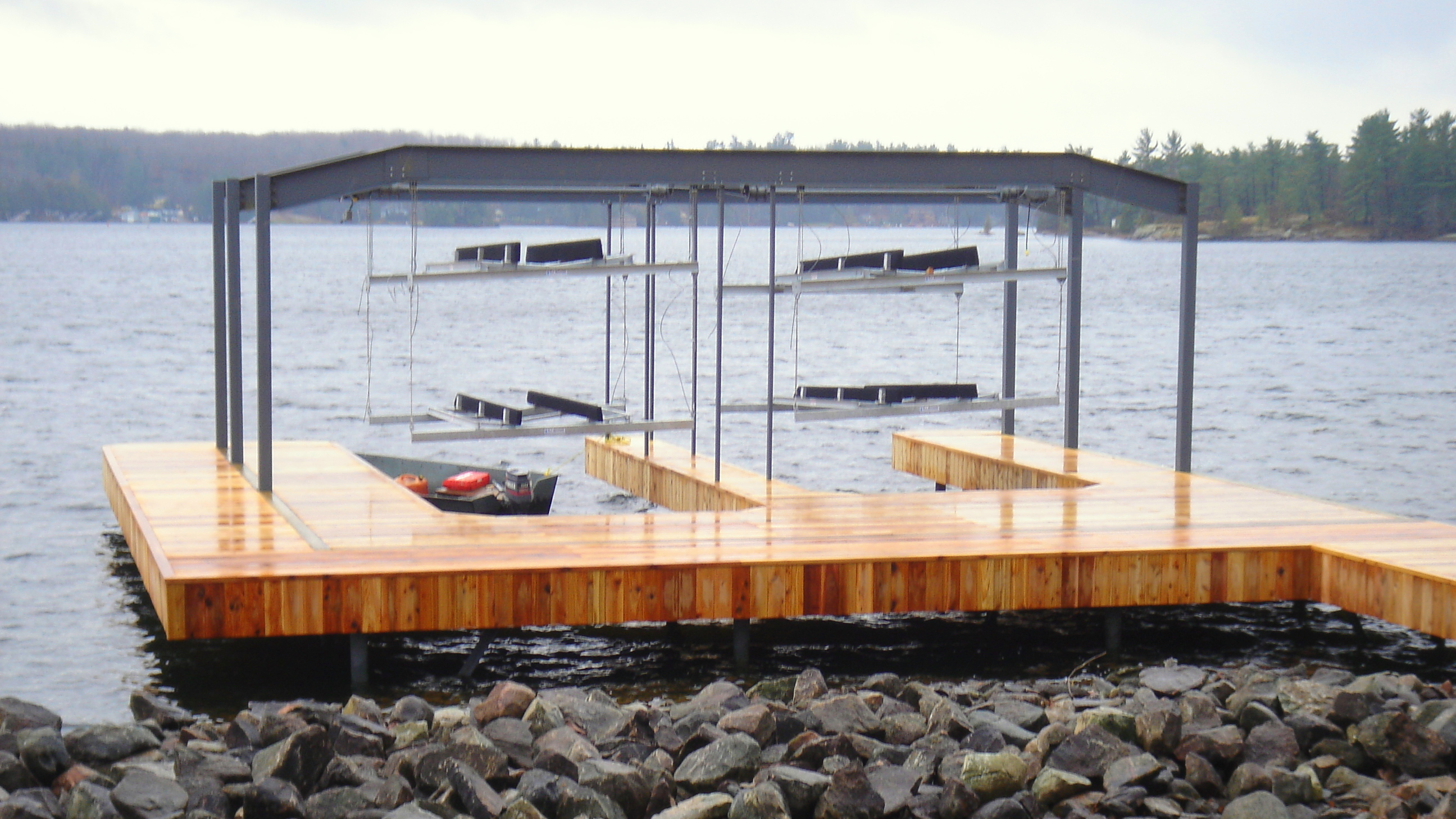 Wet Slip Boat Lifts Overhead Boat Lift Systems R Amp J Machine