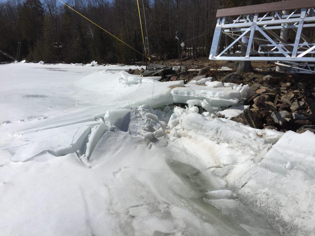 shoreline ice build up