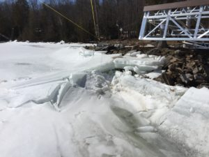 shoreline ice build up
