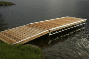 Aluminum Truss Pipe Dock and Ramp decked in Western Redwood Cedar