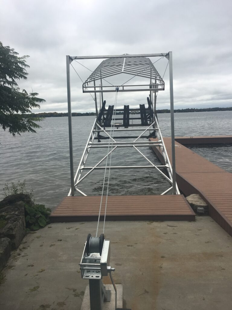 R&J Machine - Boat Lift Cantilever Attachment raised