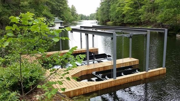 Boathouse structure and Lifts on piles