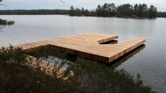 Permanent Steel with Cedar decking for base of future boathouse