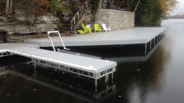 Permanent Steel Shoreline deck attached to rock face