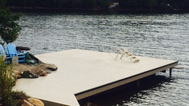 Permanent Steel dock with PVC Pro Decking