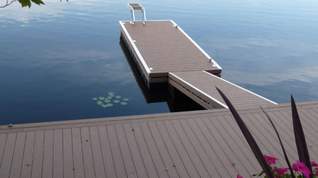 Floating Dock with Permanent Shore Section in PVC Decking