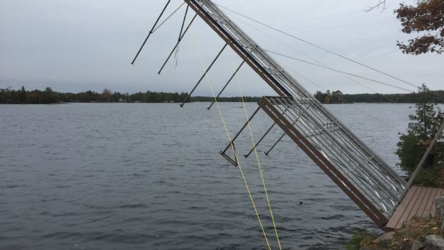 Dock lifted for winter with shore platform