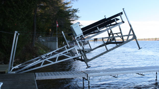 Cantilever Boat Lift with Winter Lift Up Attachment