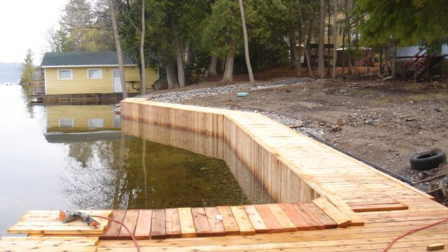 Harbour Town-Stoney Lake- Completing the decking on the shoreline boardwalk