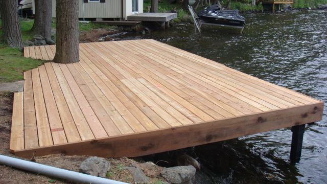 Permanent shore deck section with cedar decking