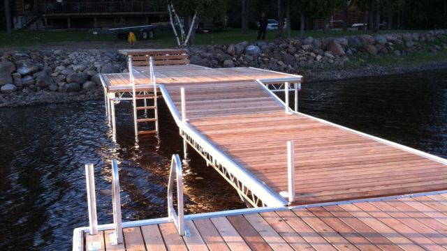 Pipe dock shore section to ramp and then out to seating platform