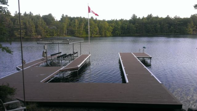 Two Lift up dock with lift up boat lift