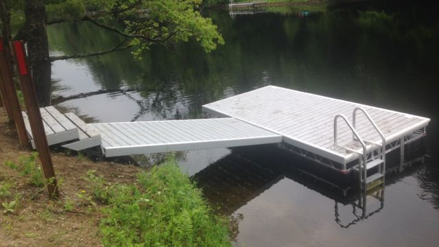 Ramp and floating dock system with pvc decking