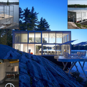 Completed steel work for glass boathouse and custom aluminum pod deck