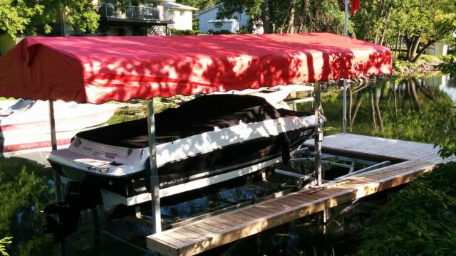 Cantilever Boat Lift with Roof System and Catwalk