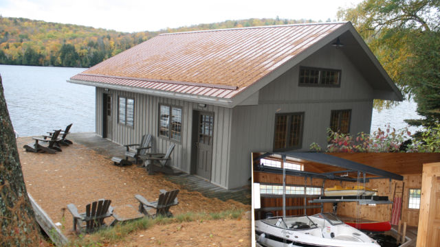 Boathouse with deck area on piles