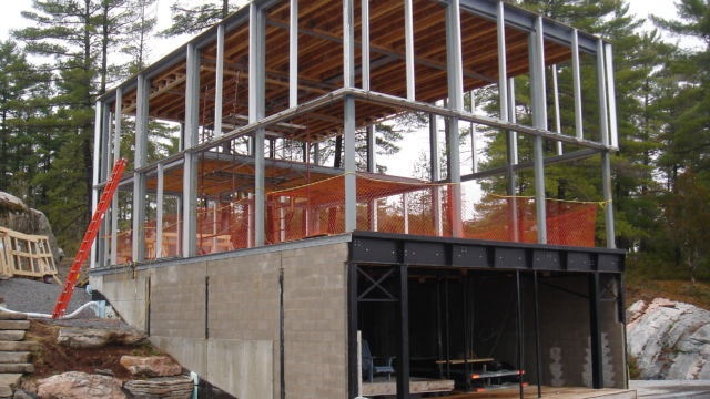 Steel work for Glass Boathouse