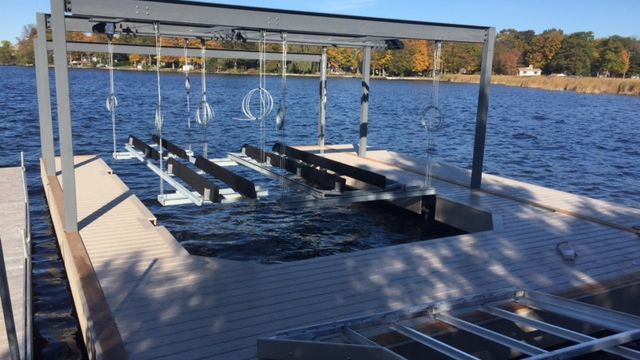 Boathouse Base on piles with overheads lifts