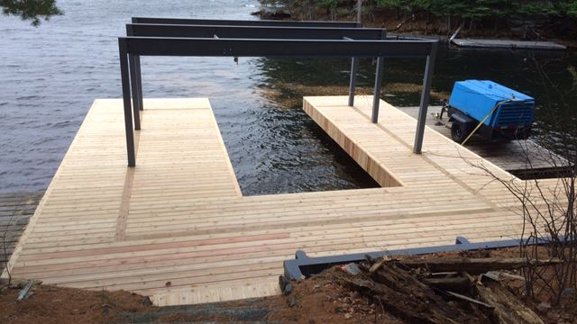 Steel Pilings and Overhead Steel work for Boathouse
