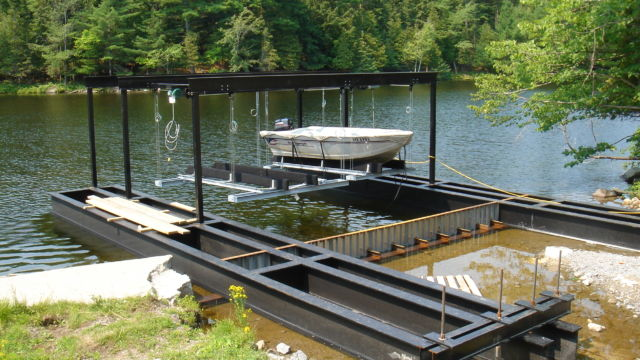 Steelwork for cantilever boathouse