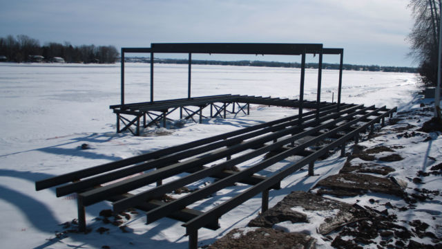 Steelwork for Boathouse running parallel to shore